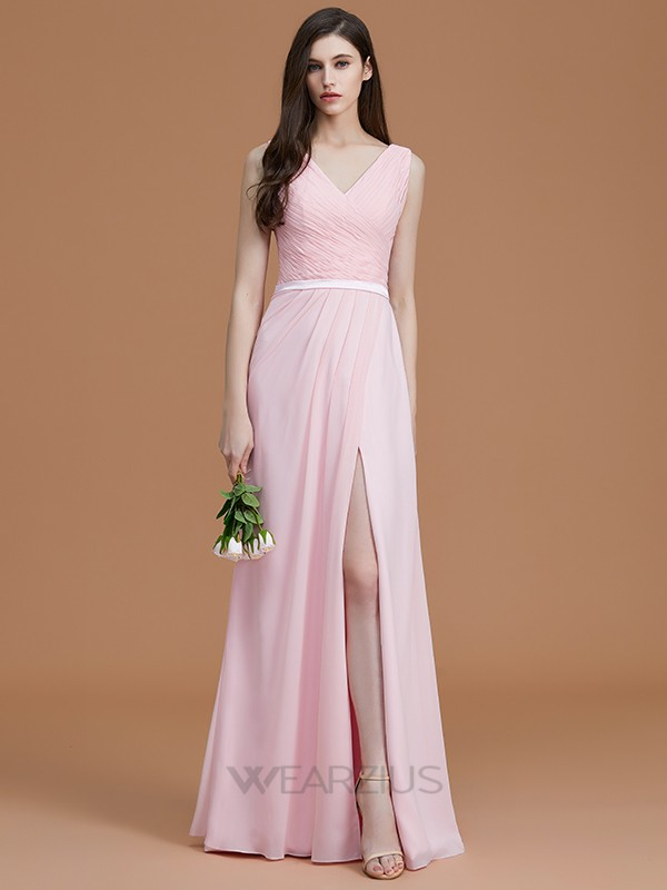 A-Line/Princess Sleeveless V-neck Floor-Length Ruched Chiffon Bridesmaid Dresses