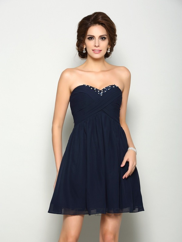 A-Line/Princess Sleeveless Sweetheart Chiffon Short/Mini Beading Dresses