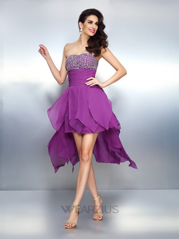 A-Line/Princess Strapless Sleeveless Beading Asymmetrical Chiffon Dresses