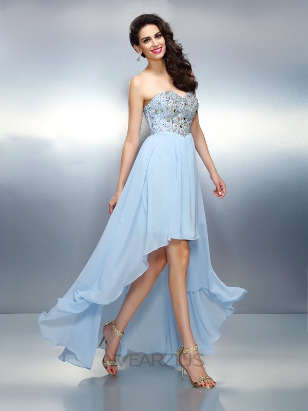 A-Line/Princess Sweetheart Sleeveless Ruffles Asymmetrical Chiffon Dresses