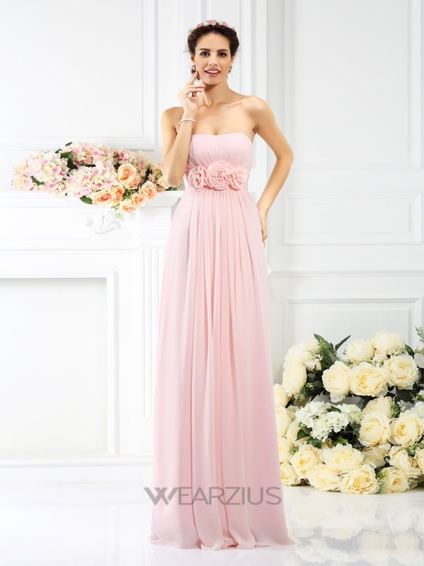 A-Line Strapless Sleeveless Chiffon Floor-Length Hand-Made Flower Bridesmaid Dresses