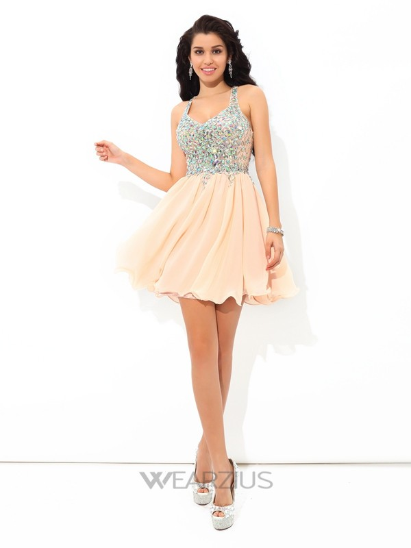 A-Line/Princess Straps Sleeveless Rhinestone Chiffon Short/Mini Cocktail Dresses