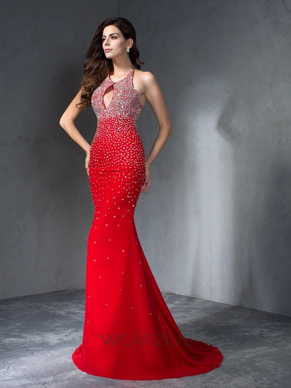 Trumpet/Mermaid Sleeveless Chiffon Halter Sweep/Brush Train Beading Dresses