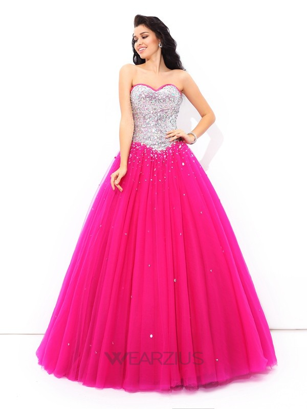 Ball Gown Sweetheart Sleeveless Floor-Length Satin Beading Quinceanera Dresses