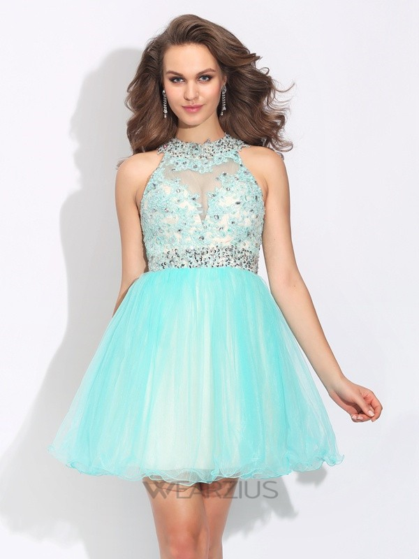 A-Line/Princess High Neck Lace Sleeveless Short/Mini Net Dresses