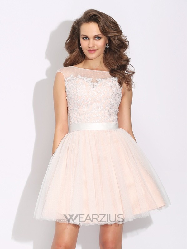 Bateau A-Line/Princess Ruffles Short Sleeves Short/Mini Net Dresses