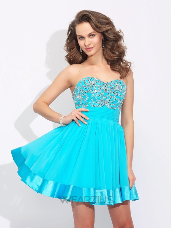 A-line/Princess Sweetheart Ruffles Sleeveless Short/Mini Chiffon Dresses