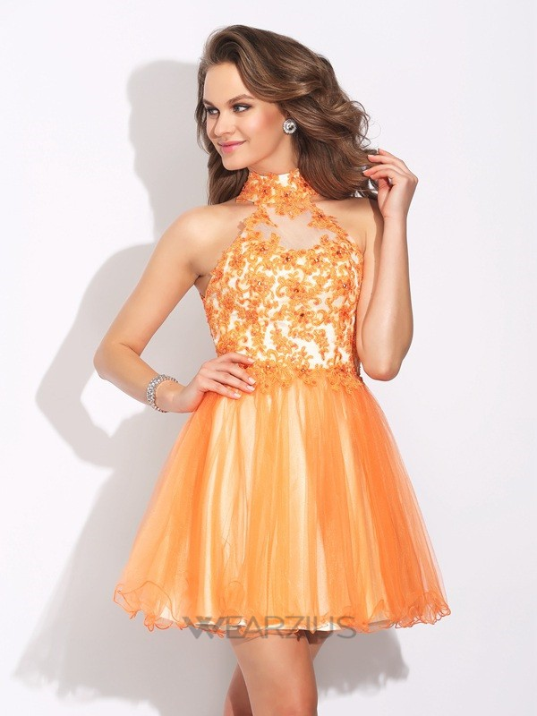 A-Line/Princess High Neck Ruffles Sleeveless Net Short/Mini Dresses