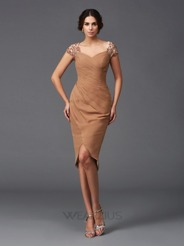 Sheath Short Sleeves Sweetheart Asymmetrical Chiffon Applique Cocktail Dresses