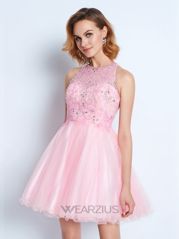 A-line/Princess Jewel Sleeveless Short/Mini Net Ruffles Dresses