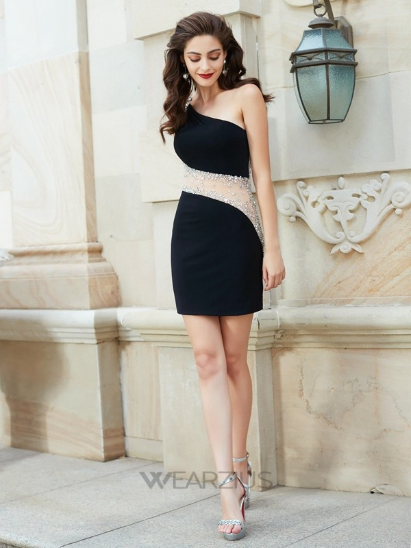 One-Shoulder Sheath/Column Short/Mini Beading Sleeveless Net Dresses