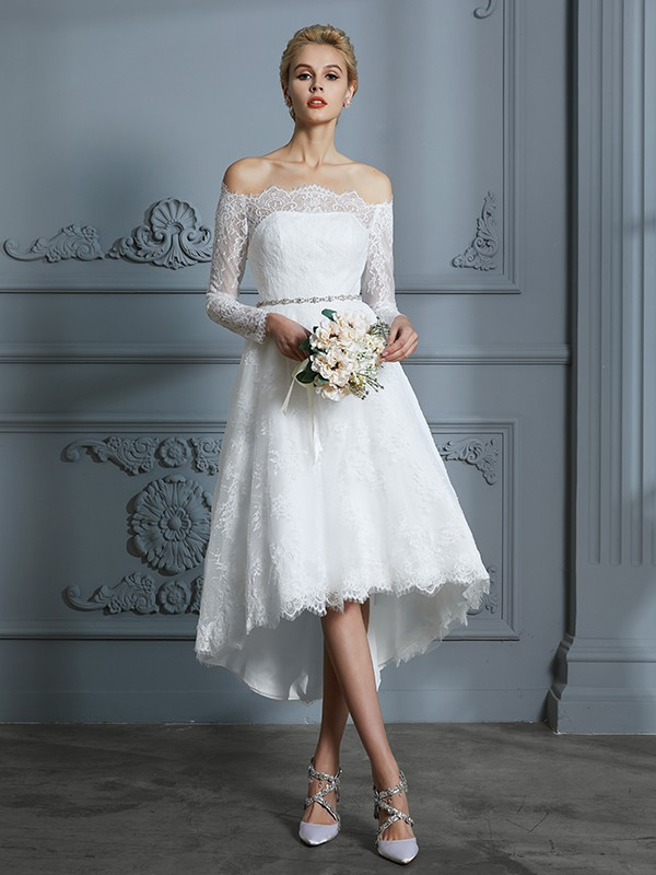 A-Line/Princess Off-the-Shoulder Lace Long Sleeves Asymmetrical Wedding Dresses