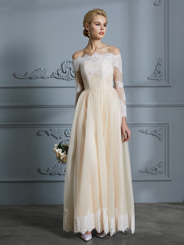 A-Line/Princess Off-the-Shoulder Lace Tulle Long Sleeves Floor-Length Wedding Dresses