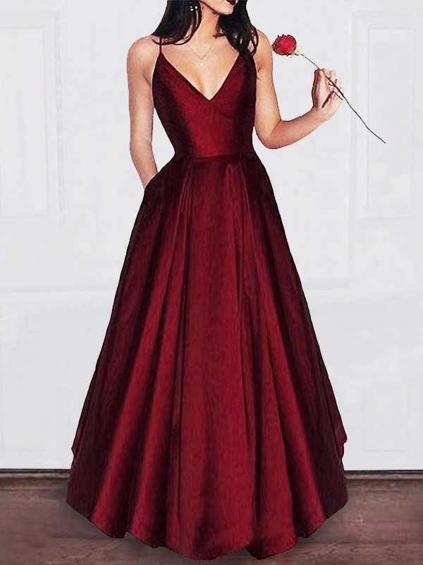 A-Line/Princess V-neck Sleeveless Satin Floor-Length Ruffles Dresses