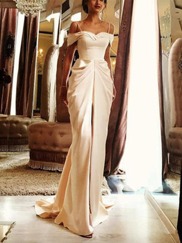 Sheath/Column Off-the-Shoulder Short Sleeves Silk like Satin Ruffles Sweep/Brush Train Wedding Dresses