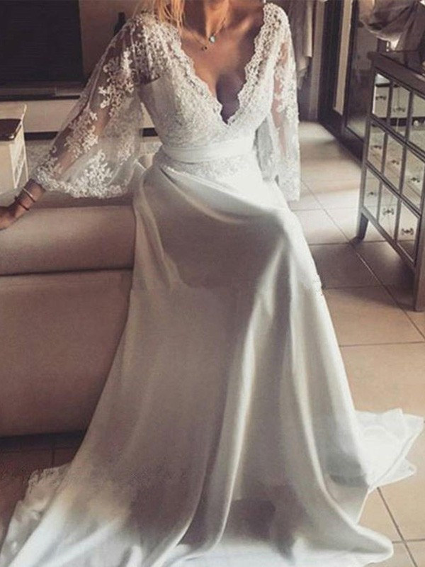 A-Line/Princess V-neck Long Sleeves Lace Sash/Ribbon/Belt Court Train Wedding Dress