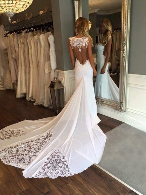 Trumpet/Mermaid Sleeveless Sweetheart Lace Applique Cathedral Train Wedding Dress