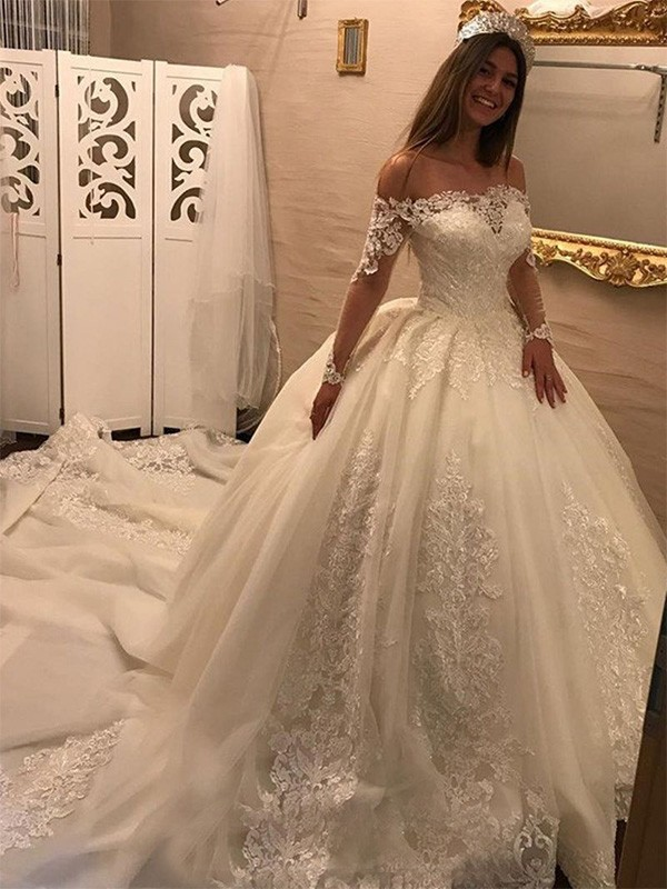 Ball Gown Off-the-Shoulder Long Sleeves Applique Tulle Cathedral Train Wedding Dress
