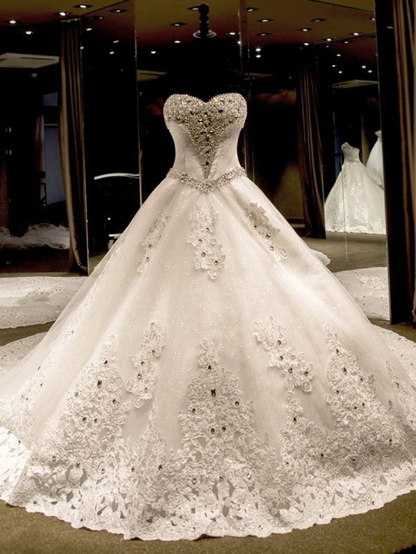 Ball Gown Sleeveless Sweetheart Applique Sequin Tulle Cathedral Train Wedding Dress