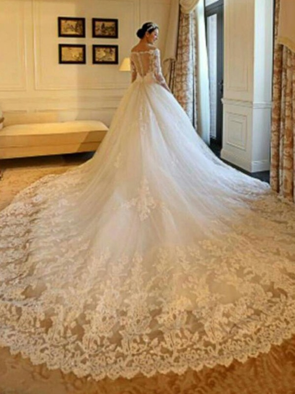 Ball Gown Off-the-Shoulder Tulle 3/4 Sleeves Beading Applique Cathedral Train Wedding Dress