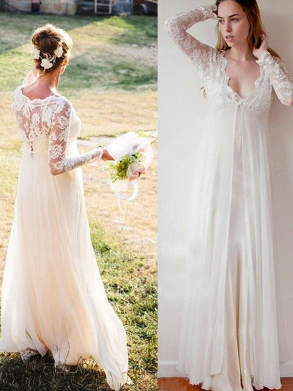 Empire V-neck Lace Long Sleeves Chiffon Floor-Length Wedding Dress