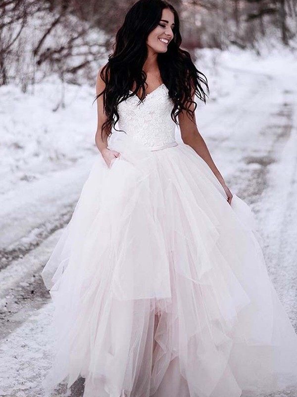 A-Line/Princess V-neck Sleeveless Ruched Tulle Floor-Length Wedding Dress