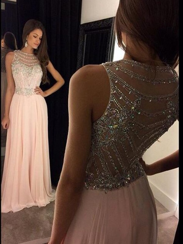A-Line/Princess Scoop Sleeveless Crystal Chiffon Floor-Length Dresses
