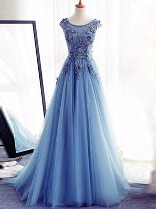 Ball Gown Sleeveless Jewel Applique Sweep/Brush Train Tulle Dresses