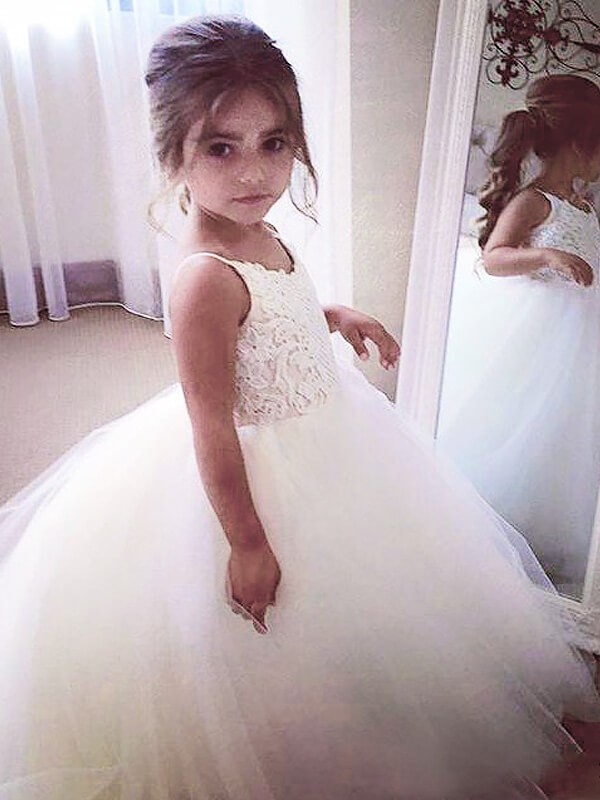 Ball Gown Jewel Lace Floor-Length Sleeveless Tulle Flower Girl Dresses