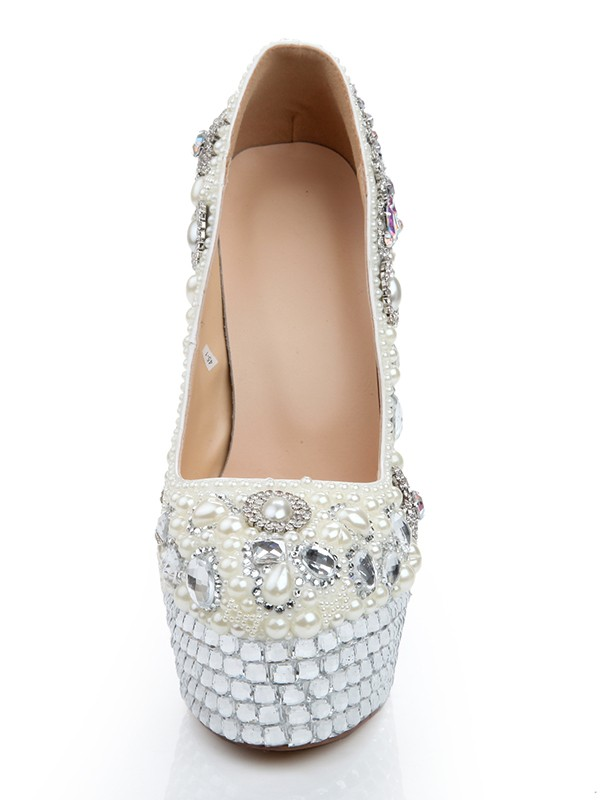 Women's Patent Leather Stiletto Heel Platform With Pearl Chain Wedding Shoes