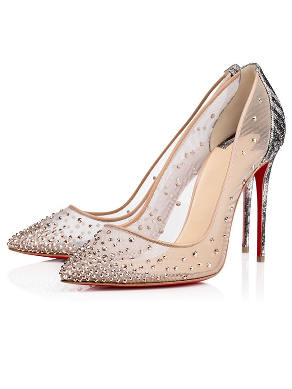 Women's Closed Toe Stiletto Heel with Hot Drilling Party Shoes