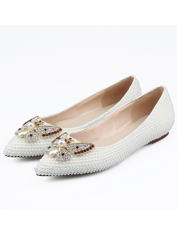 Women's Patent Leather Closed Toe With Rhinestones Flat Shoes