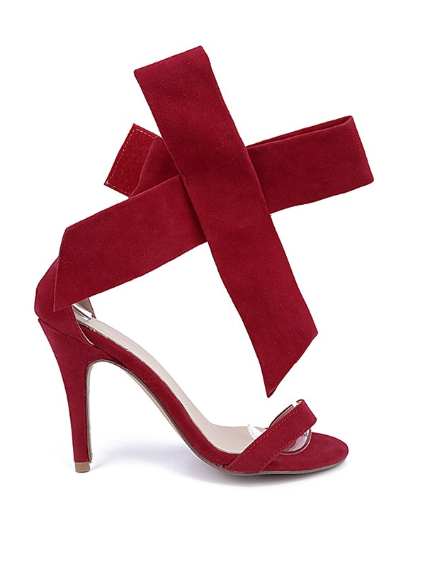 Women's Suede Peep Toe Stiletto Heel With Bowknot Party Sandal Shoes