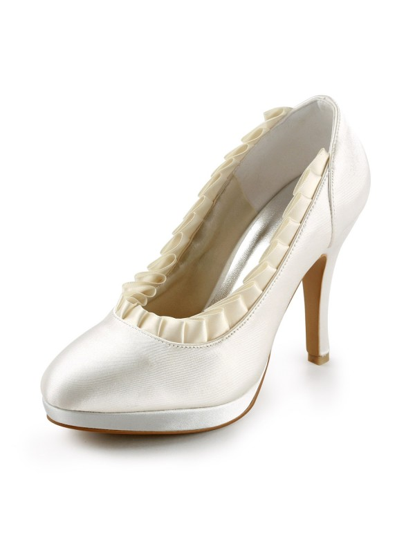Women's Satin Upper Stiletto Heel Pumps With Ruffles Wedding Shoes