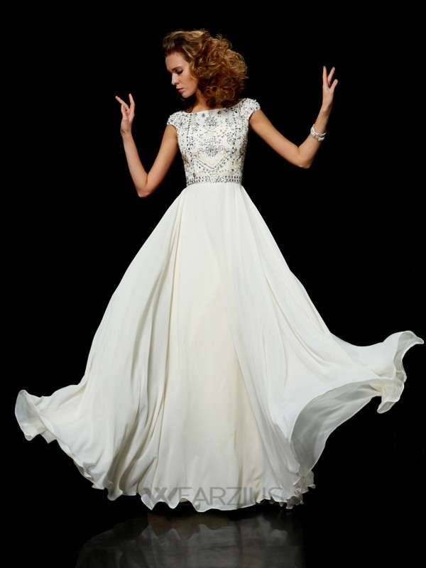 Ball Gown Chiffon High Neck Short Sleeves Beading Floor-Length Dresses