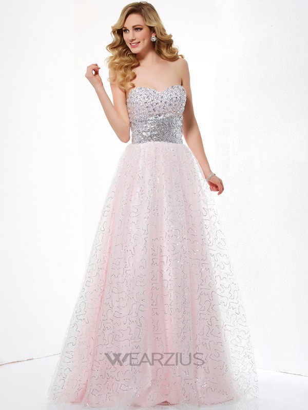 Ball Gown Sweetheart Satin Floor-Length Sleeveless Dresses