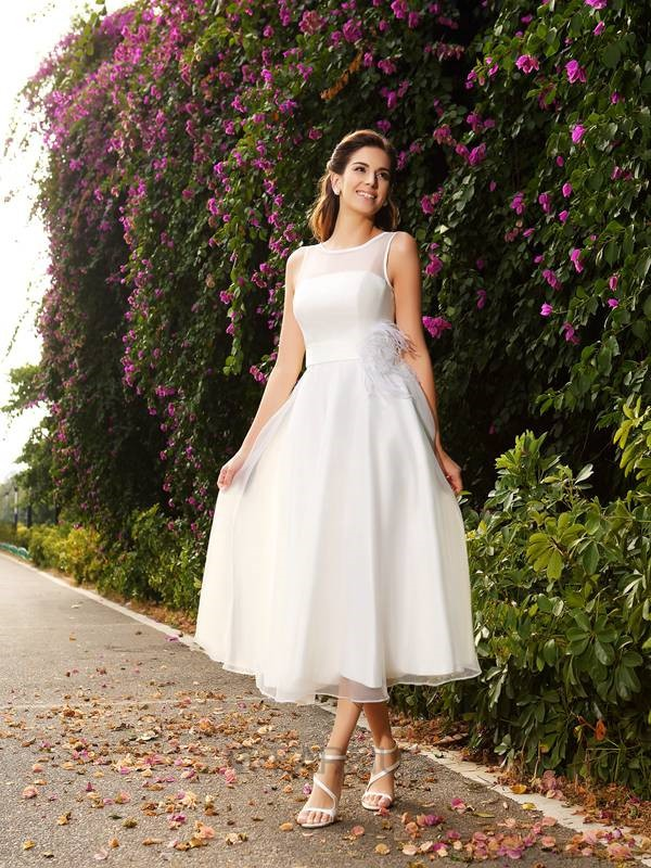 A-Line Bateau Sash/Ribbon/Belt Sleeveless Satin Ankle-Length Wedding Dresses