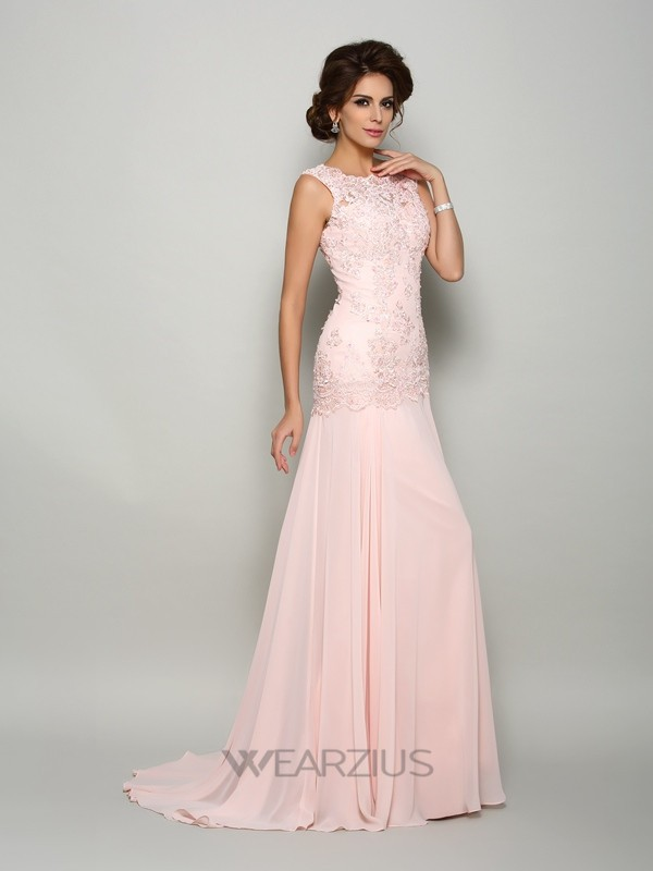 Trumpet/Mermaid Scoop Sleeveless Sweep/Brush Train Chiffon Beading Mother of the Bride Dresses