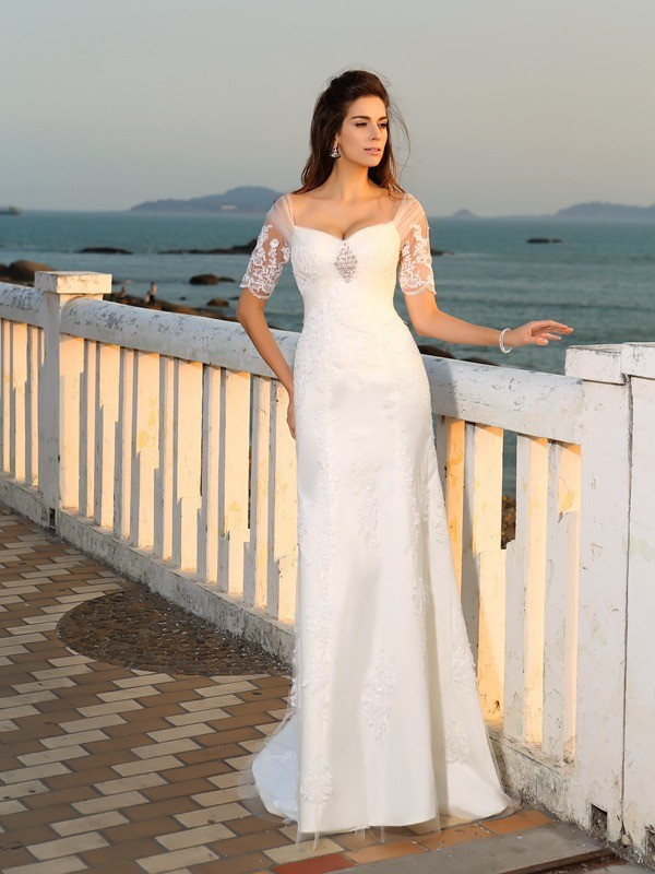 Sheath/Column Sweetheart Floor-Length Short Sleeves Satin Applique Wedding Dresses