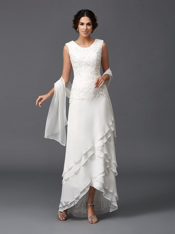 A-Line/Princess Scoop Sleeveless Chiffon Lace Asymmetrical Mother of the Bride Dresses
