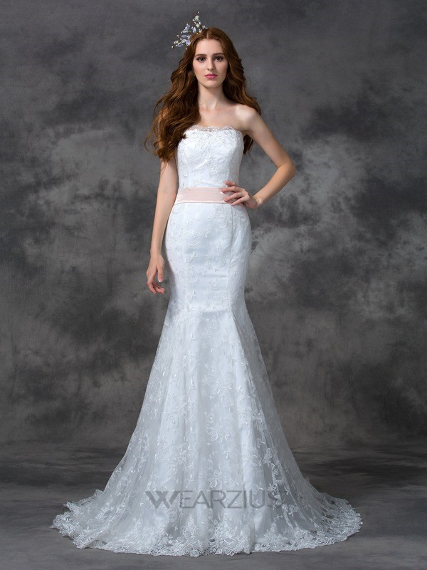 Mermaid Strapless Sleeveless Sash/Ribbon/Belt Court Train Lace Wedding Dresses