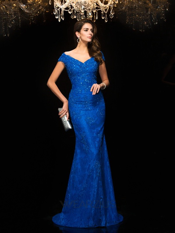Trumpet/Mermaid V-neck Sleeveless Sweep/Brush Train Lace Mother of the Bride Dresses