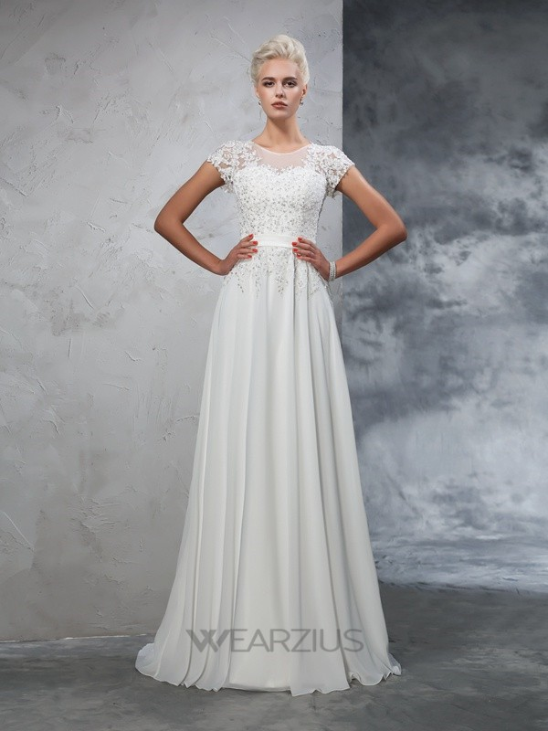 Princess Short Sleeves Sheer Neck Chiffon Sweep/Brush Train Applique Wedding Dresses