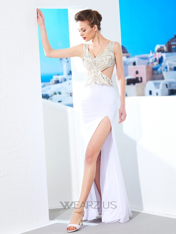 Sheath/Column V-neck Sleeveless Floor-Length Spandex Beading Dresses