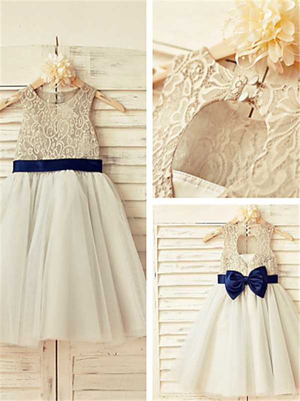 Princess Scoop Sleeveless Lace Tea-Length Tulle Flower Girl Dresses