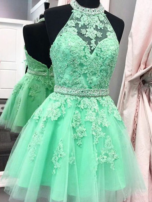 A-Line/Princess Halter Applique Tulle Short Dresses