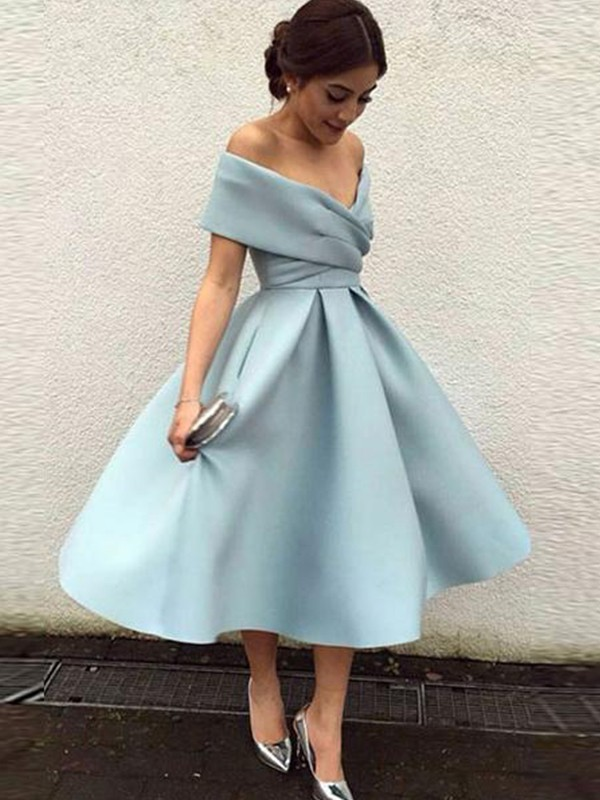 A-Line/Princess Off-the-Shoulder Sleeveless Satin Ruffles Tea-Length Dresses