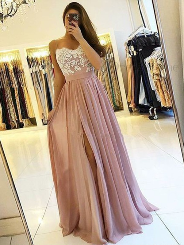 A-Line/Princess Spaghetti Straps Sleeveless Floor-Length Applique Chiffon Dresses