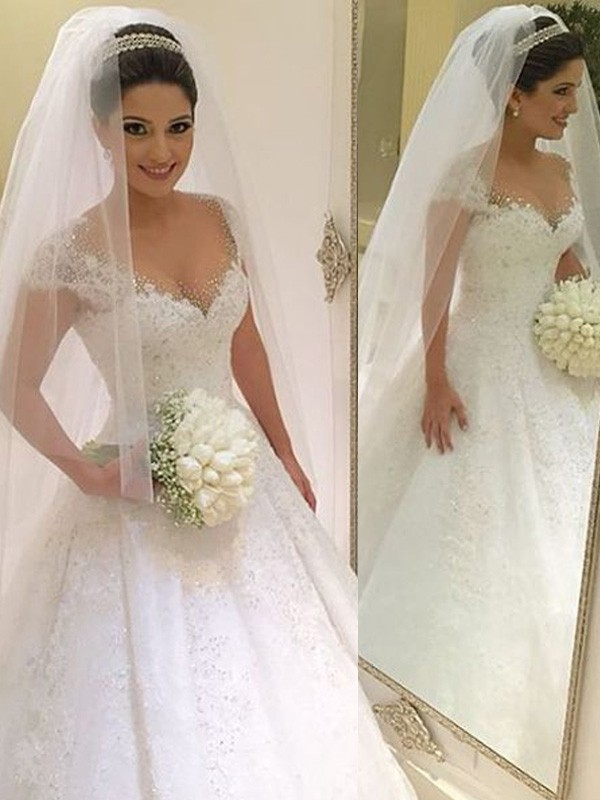 Ball Gown Sleeveless V-neck Floor-Length Tulle Beading Wedding Dress