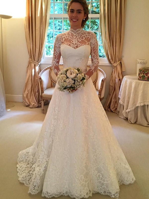 Ball Gown High Neck Court Train Long Sleeves Wedding Dress with Lace